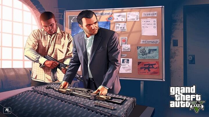 GTA V شخصیت فرانکلین,مایکل درحال جا ساز اسلحه