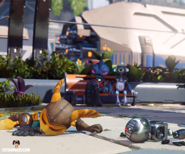شخصیتهای اصلی بازی (رچت و کلنک) که بنظر مرده افتادن رو زمین