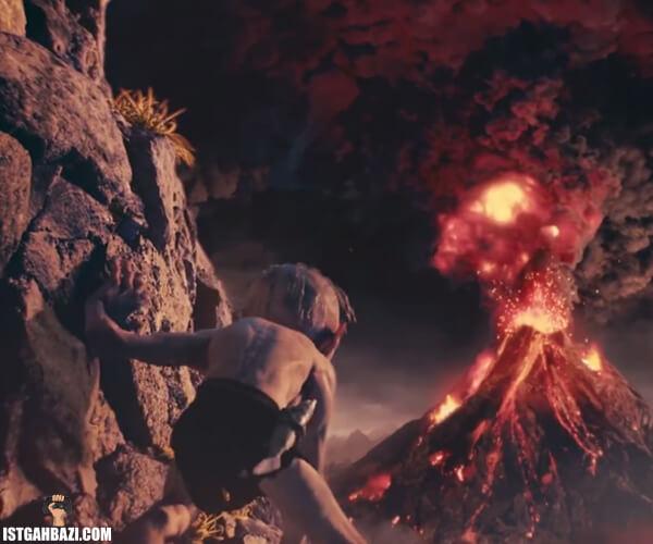 عکس شخصیت گالوم که موفق شده خودش رو به کوه نابودی برسونه