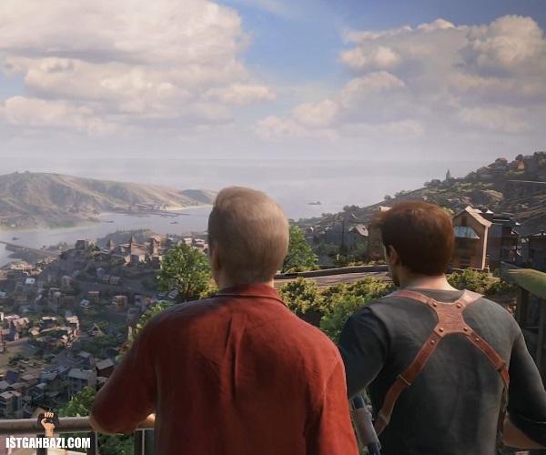 شخصیت اصلی انچارتد به همراه برادرش رو به منظره