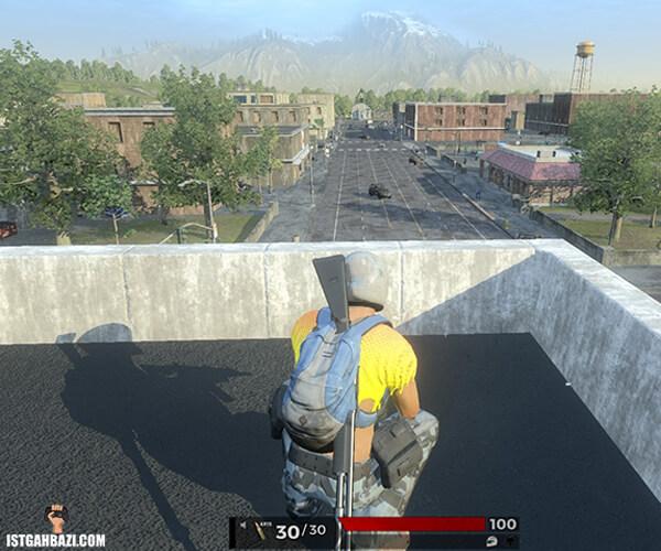 شخصیت بازی H1Z1 که بالای پشت بام نشسته است
